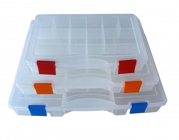 Sortimentskasten transparent - GHOST Serie in diversen Größen mit 12, 13 oder 14 Fächer