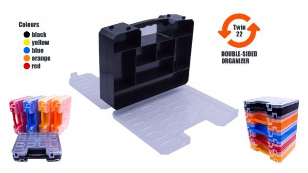 TWIN 22 ORGANIZER doppelseitiger Sortimentskasten in diversen Farben 260x200x63 mm 22 Fächer