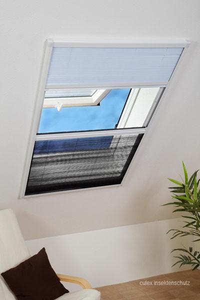Insektenschutz Rollo Kombi Dachfenster Plissee 110x160 Cm In Weiß