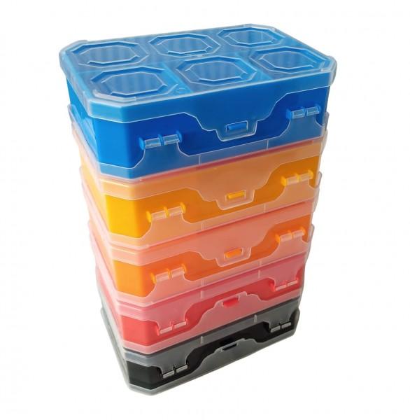 Doppelseitiges sortimentskasten TWIN 8 in verschiedenen Farben.