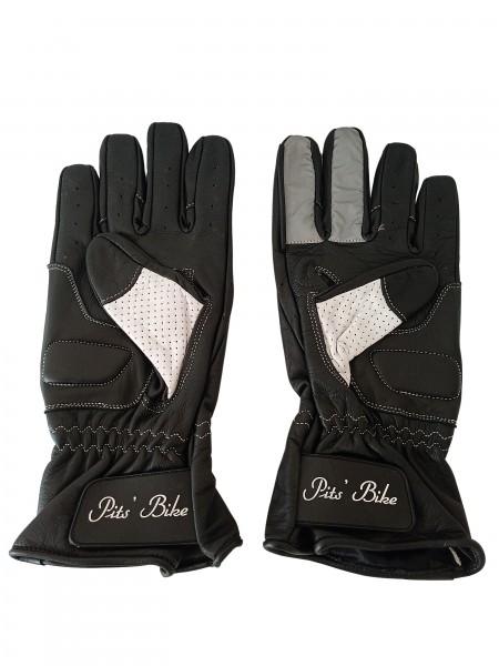 Biker Chopper Handschuhe schwarz-weiss aus Rindleder mit Knöchelschutz, Scheibenwischer Gummi für Helme und Fingerrefklektor für Motorradgruß (Viktory Zeichen)