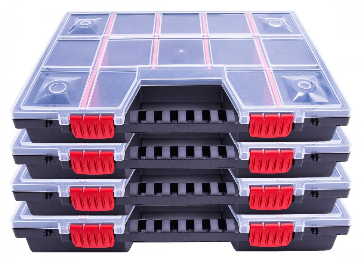 4er Set Sortimentskästen Kleinteilemagazin NOR16 Sortierboxen Schraubenbox NEU