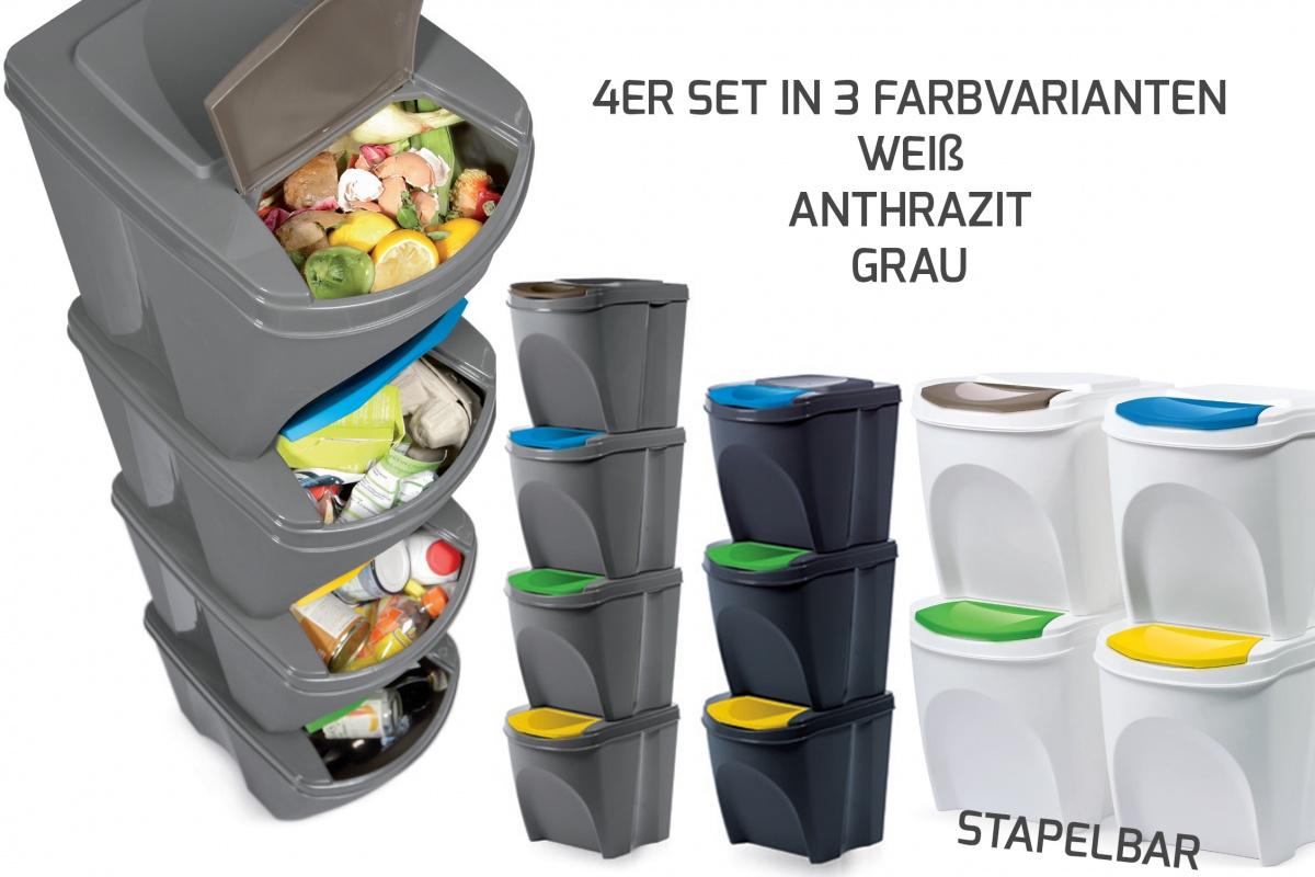 4er Set Mülleimer Abfalleimer Küche Sortibox(80 Liter