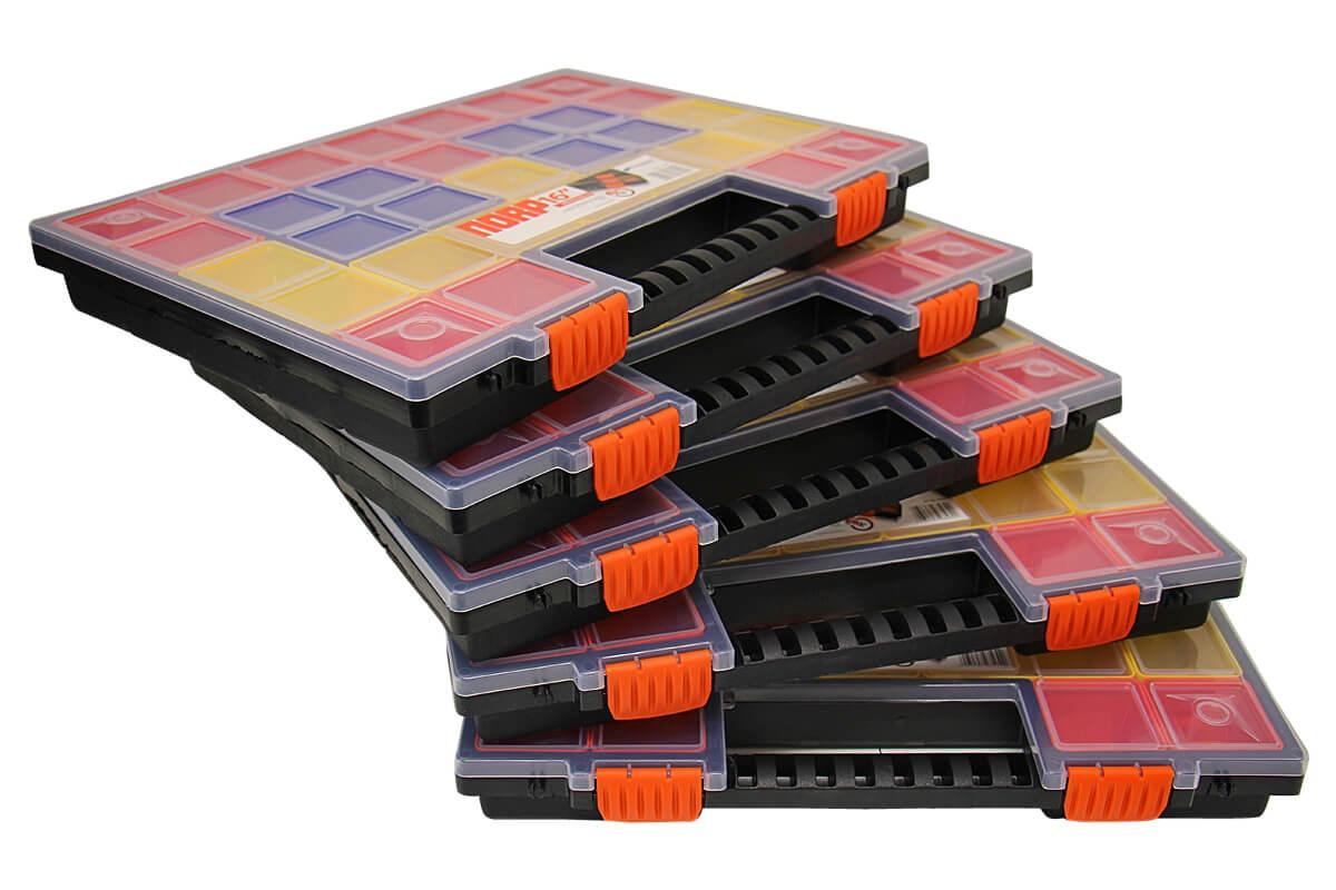 5x sortierkasten sortierbox sortimentskasten mit 21 f cher kleinteilemagazin neu ebay. Black Bedroom Furniture Sets. Home Design Ideas